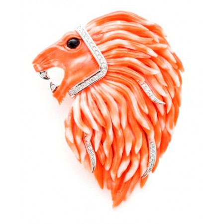 Coral brooch RED LION KING