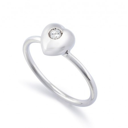 Solitaire Ring 0.08ct Heart