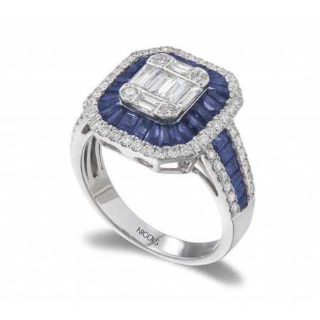 Diamates Sapphires Ring SEAL SQUARE
