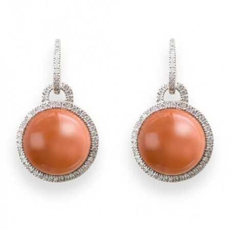 Diamond earrings Coral CABOCHON