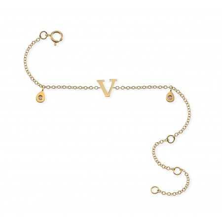 Initial Letter V Bracelet MINI DETAILS
