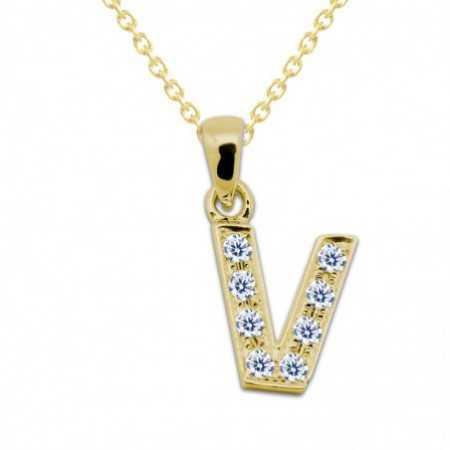 LETTER V Initial Necklace DIAMONDS