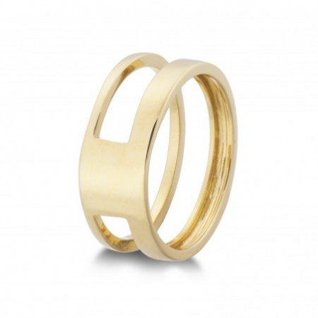 Gold ring BASIC GOLD HOLLOW SQUARE ONE THUMB