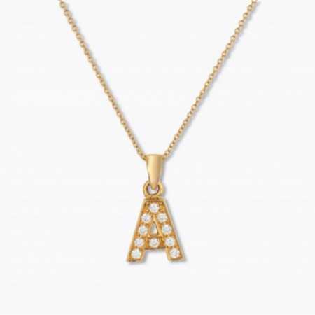 Initial Necklace A LETTER DIAMONDS