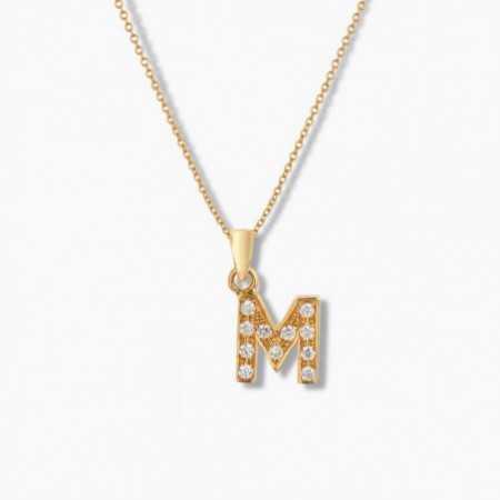 Initial necklace M LETTER DIAMANTES
