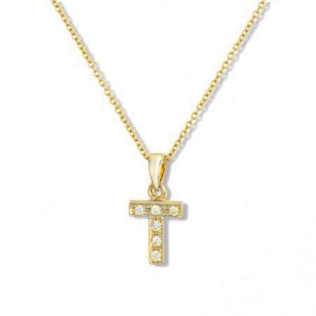 Initial Necklace T LETTER DIAMOND