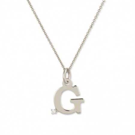 Initial G Necklace DOT DIAMOND