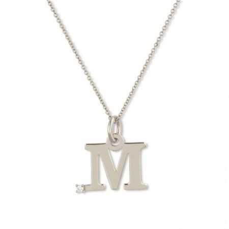 Collar Initial M DOT DIAMOND