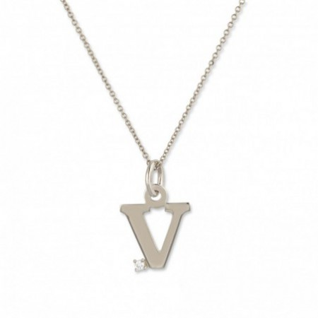 Initial V Necklace DOT DIAMOND