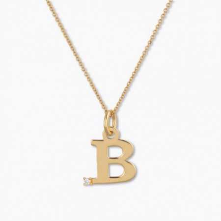 Initial necklace B DOT DIAMOND