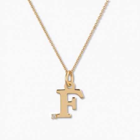 Initial necklace F DOT DIAMOND