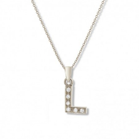 Initial L Letter Necklace DIAMONDS