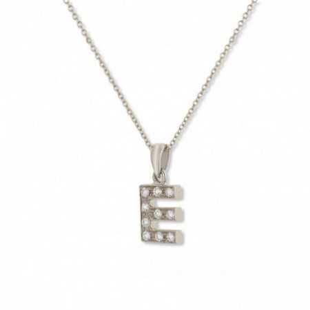 LETTER E Initial Necklace DIAMONDS