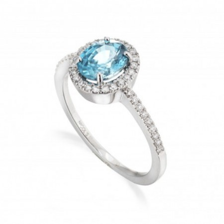 Gold ring Zircon Blue Seal OVAL