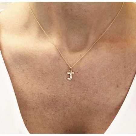 LETTER J Initial Necklace DIAMONDS