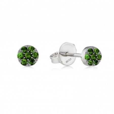 GREEN VELVET circle earrings