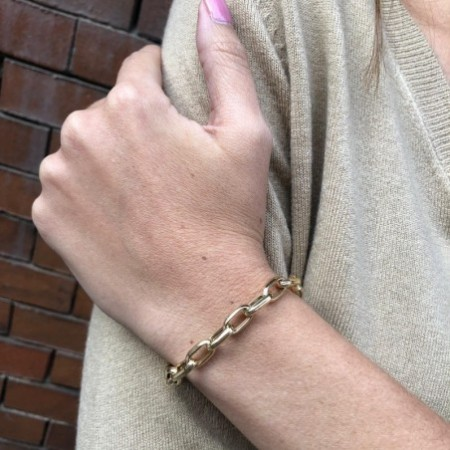 18kt Gold Bracelet 19cm 13x7 ESLABON GALLON