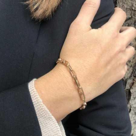 18kt Rose Gold Bracelet 18cm BAR ESLABON
