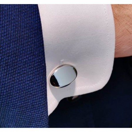 Silver Cufflinks Oval GRABABLE