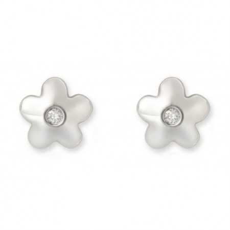 Flower diamond stud earrings