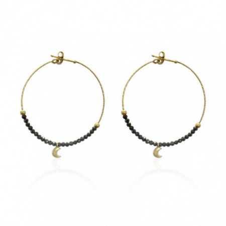 Gold earrings DARK MOON