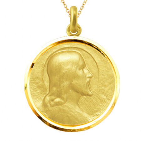 Medalla Cristo Salvador Oro 18kt Bisel