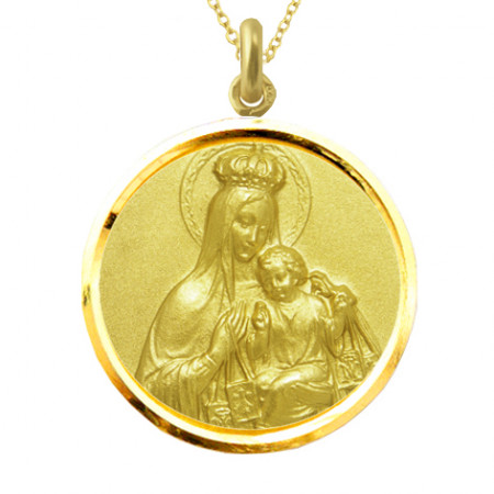 Medalla Virgen del Carmen Corona Bisel Oro 18kt
