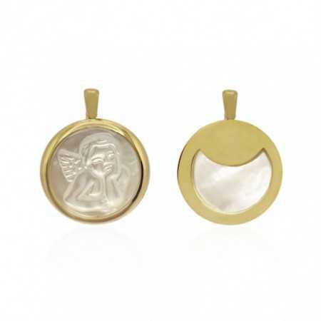 18kt Gold medal Angel Serafin Nacre Thick Bisel