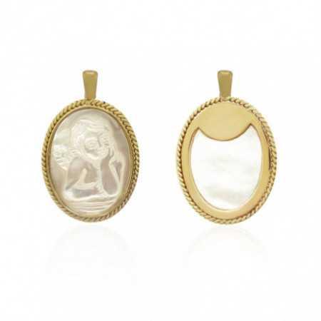 Angel Seraphim Medal Oval 18kt Gold Bezel Mother of Pearl Twisted