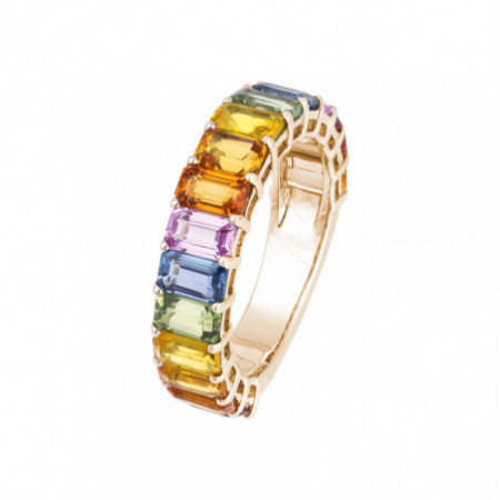 Sapphires Ring Rose Gold colors RAINBOW