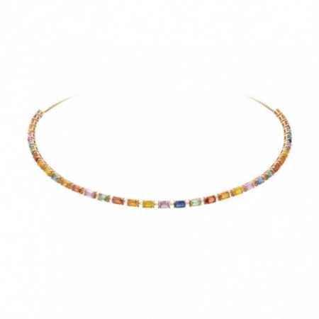 Sapphires Rose Gold choker Colors RAINBOW