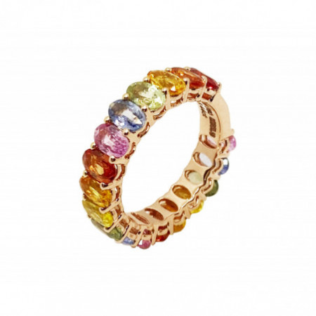 Sapphires Rose Gold Color Ring RAINBOW