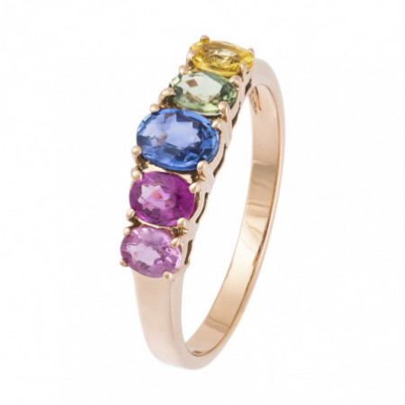 Sapphires Ring and Ruby Rose Gold Color RAINBOW