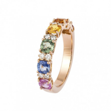 Diamonds and sapphires ring Colors RAINBOW