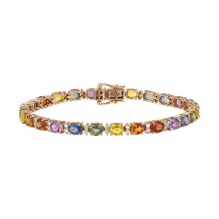 Diamonds and Sapphires Bracelet Rose Gold Color RAINBOW