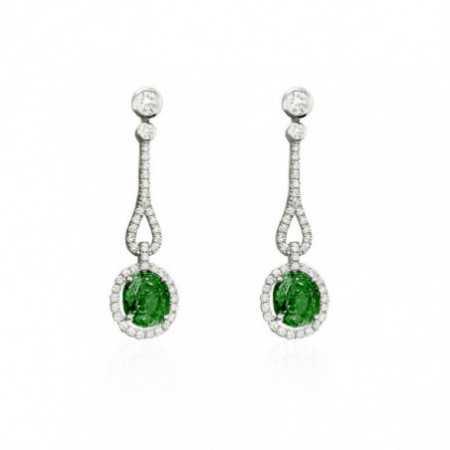 ROYAL JEWELS Diamond Emerald Earrings