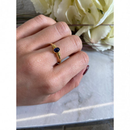 NEW VINTAGE Gold Sapphire Ring 533