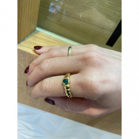 Cabochon Emerald Yellow Gold Ring NEW VINTAGE 533