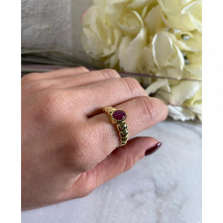 Yellow Gold Ring Ruby Cabochon NEW VINTAGE 533