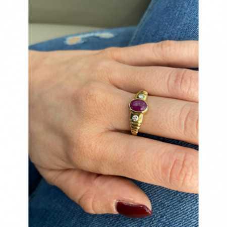Cabochon Ruby Diamond Ring NEW VINTAGE 533