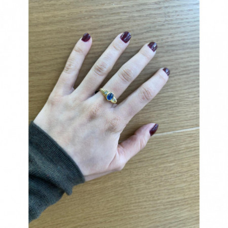 Cabochon Sapphire Diamond Ring NEW VINTAGE 533