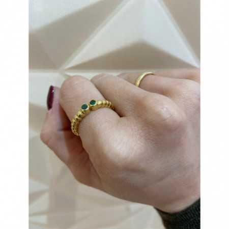 Gold ring VINTAGE DOUBLE Esmeraldas 533