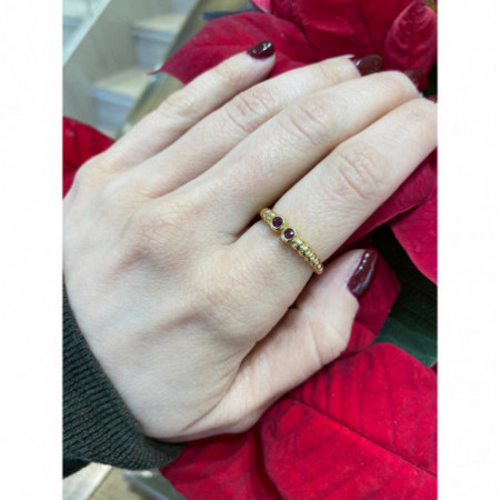 Rubies Gold ring VINTAGE DOUBLE 533