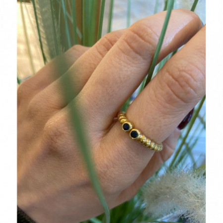 Sapphires Gold ring VINTAGE DOUBLE 533