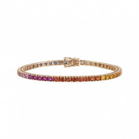 Sapphires Bracelet Rose Gold Color RAINBOW