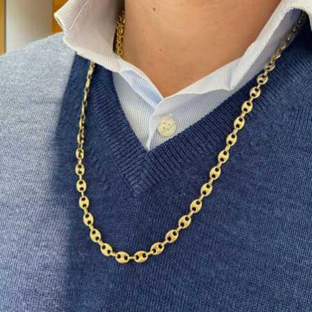 18kt Gold Chain 60cm hawser 6x8 MACIZO