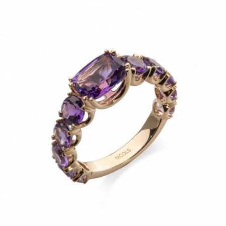 RAINBOW Rose Gold Amethyst Ring