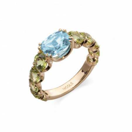 Peridot Topaz Gold ring RAINBOW Rosa