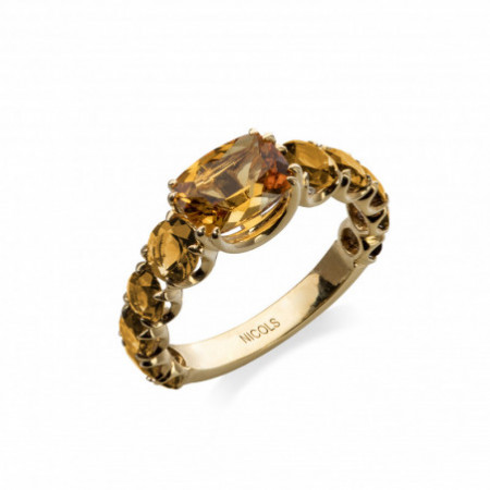 RAINBOW Citrine Yellow Gold Ring