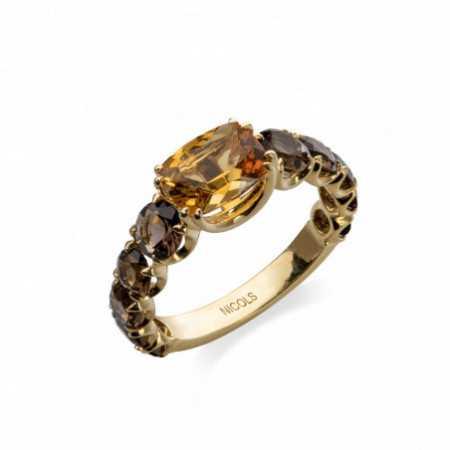 RAINBOW Citrine Ring Yellow Gold Fumé